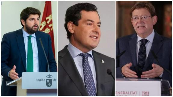 Fernando López Miras, Juanma Moreno y Ximo Puig. CARM/EUROPA PRESS