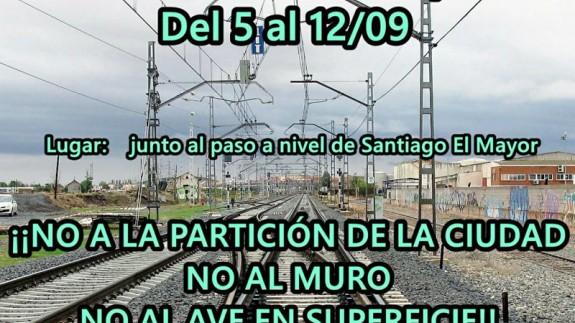 Cartel de la acampada de la Plataforma Pro-Soterramiento de Murcia