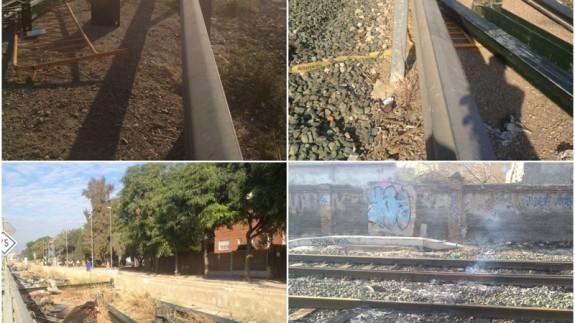 Destrozos junto a las vías del tren