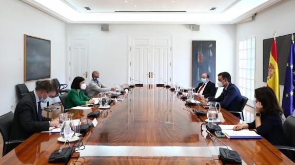 Reunión del Comité Covid, que ha estado presidido por Pedro Sánchez. MONCLOA