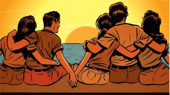 dibujo de hombres y mujeres abrazados