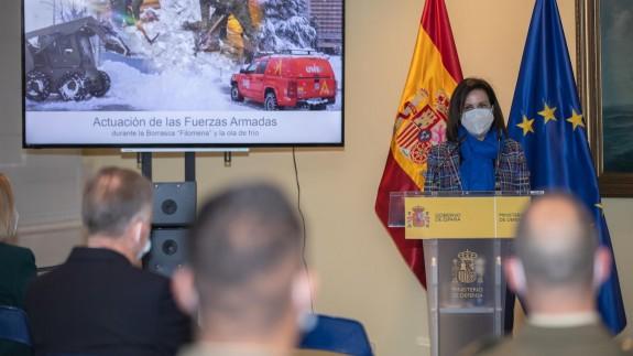 Robles, en un acto en el Ministerio de reconocimiento a los militares