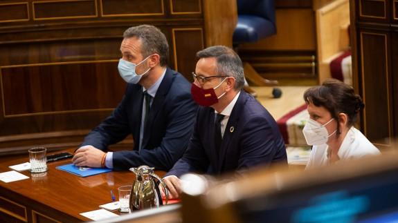 Joaquín Segado, Diego Conesa y María Marín, en el Congreso el 8 de junio. Foto: Asamblea Regional