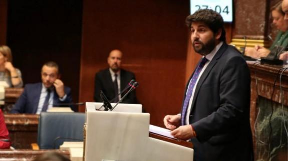 López Miras en la Asamblea, en una imagen de archivo
