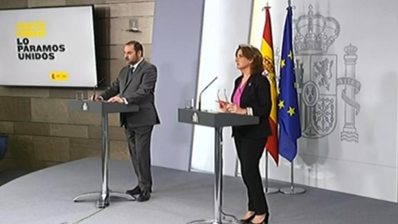 Ábalos y Ribera en rueda de prensa, esta tarde.