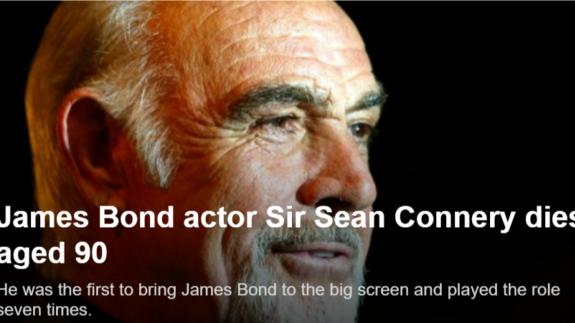 Noticia sobre la muerte de James Bond en la BBC