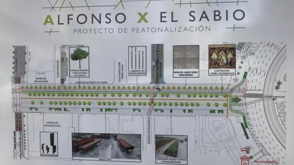 MAPA DE LA 2ª fase de la peatonalización del Alfonso X