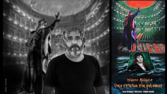 Pedro Segura y cartel de 'Isidoro Máiquez. Una estatua sin palomas'