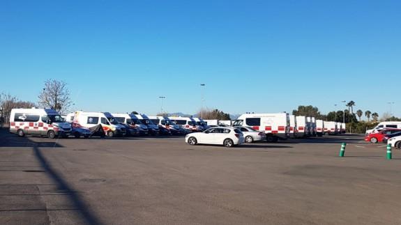 Muchas de las ambulancias se encuentran paradas