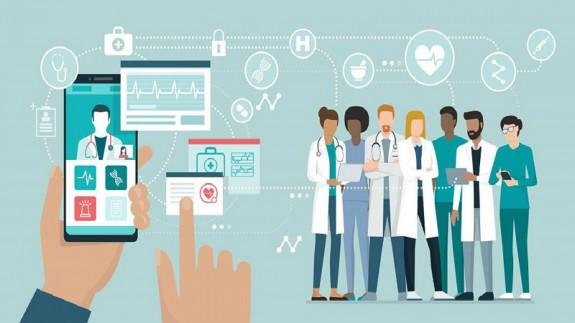 Dibujo de aplicación móvil y personal sanitario