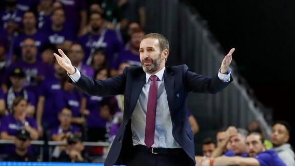 Sito Alonso, en el último Real Madrid-UCAM Murcia. Foto: V. Carretero / ACB Photo