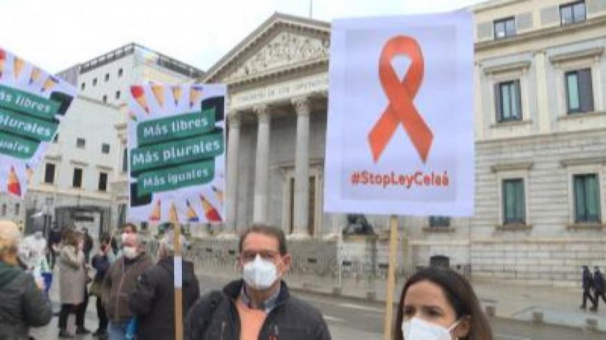 Manifestación en contra de la Ley Celáa frente al Congreso de los Diputados