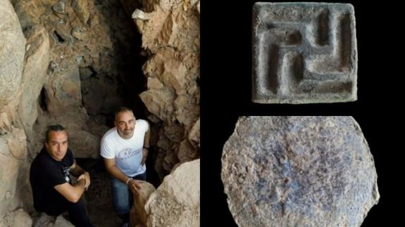 Ocharan y Pallarés y algunos objetos encontrados en Balumba. CEDIDAS