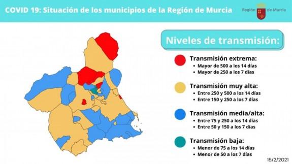 Situación de los municipios de la Región de Murcia actualizado a 15 de febrero