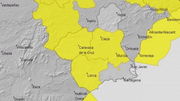 mapa de precipitaciones en la región de murcia