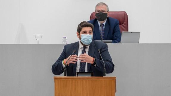 López Miras durante su comparecencia