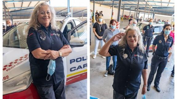 Mari Carmen Garrido en su despedida en las instalaciones de la Policía Local de Cartagena