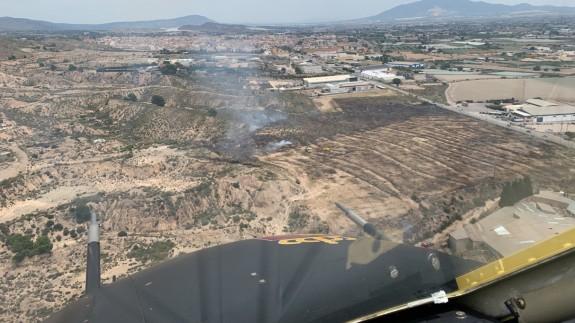 Zona afectada por el incendio en el término municipal de Totana. 112RM