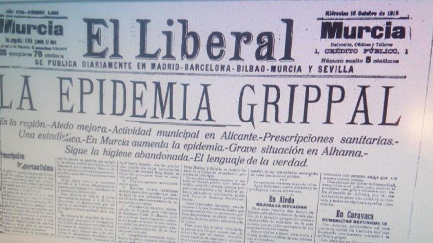 """Portada de """"El Liberal de Murcia"""" del 16 de octubre de 1918"""