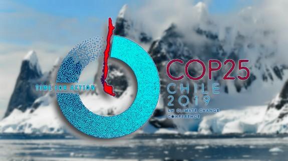 Glaciares y logo del COP25