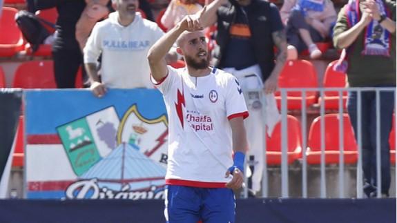 David Andújar celebra el gol que marcó al Numancia con el Rayo Majadahonda. Foto: LaLiga