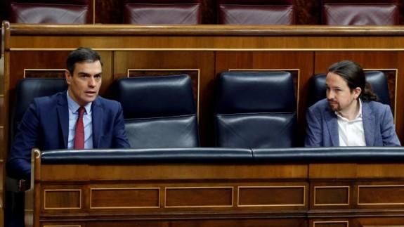 El presidente de Gobierno, Pedro Sánchez y el vicepresidente segundo, Pablo Iglesias (archivo). Europa Press