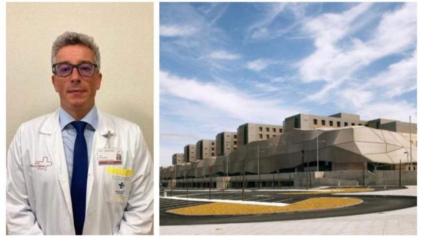 José Sedes, gerente del Área de Salud II de Cartagena, junto a una imagen del Hospital Santa Lucía