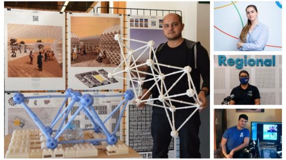 Vìctor Martínez con un modelo de su proyecto 'Phaser' junto a Irene Ruiz, Joaquín Cruces y Mariano Fernández