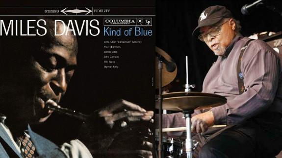 Portada del disco 'Kind of blue' de Miles Davis y fotografía del baterista Jimmy Cobb