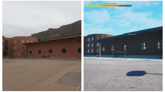 Imagen real del IES Valle del Segura junto a su recreación virtual en Fornite