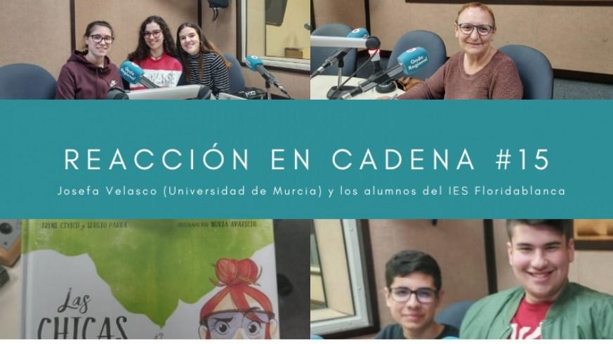 Irene, Pablo y Mario del IES Floridablanca y Josefa Velasco, investigadora principal del grupo de Ecología Acuática de la Universidad de Murcia
