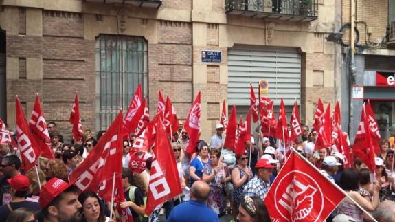 Protesta en Murcia de los trabajadores de la conserva a finales de junio