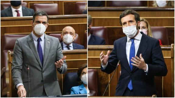 Sánchez y Casado durante la sesión de control