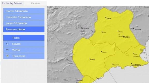 Meteorología activa el aviso amarillo por lluvias en la mayor parte de la Región a partir de la próxima madrugada