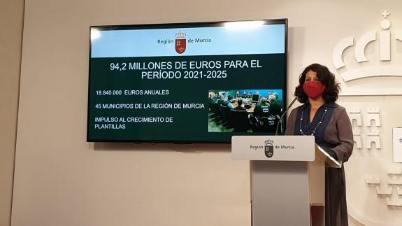 Beatriz Ballesteros en su comparecencia tras el Consejo de Gobierno