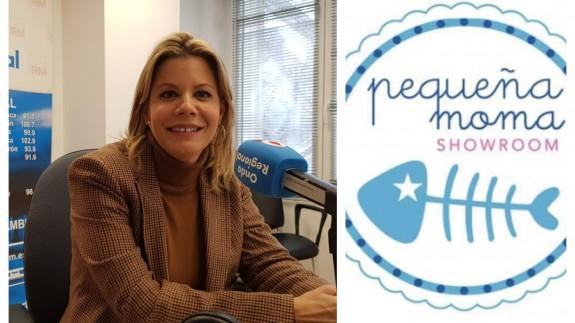 Paloma Jáudenes junto a la imagen de 'Pequeña Moma'