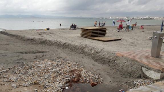 Daños en la playa de Los Narejos