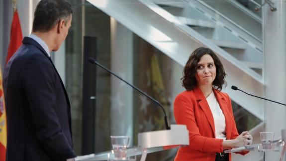 Sánchez y Ayuso en la rueda de prensa que ofrecieron hace unos días