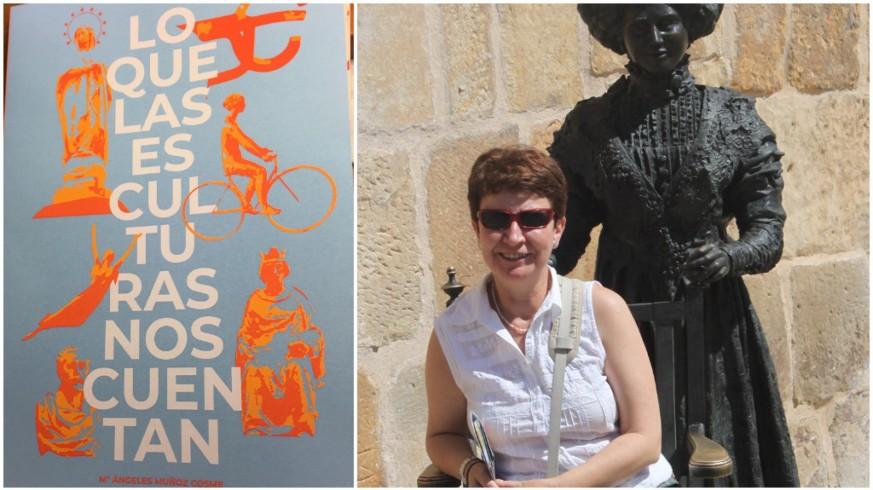 Portada de 'Lo que las esculturas nos cuentan' y Mª Ángeles Muñoz Cosme