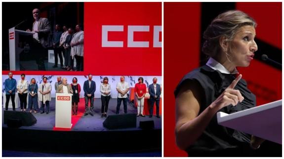 Nueva ejecutiva confederal de CCOO. Dcha. la ministra de Trabajo, Yolanda Díaz