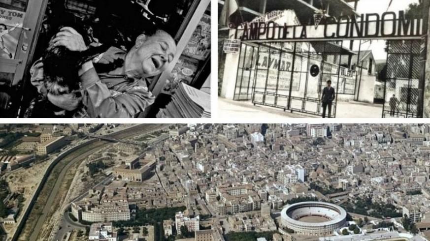 Lola Guardiola y dos imágenes antiguas del barrio de Santa Eulalia