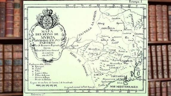 Mapa del antiguo Reino de Murcia con libros de fondo