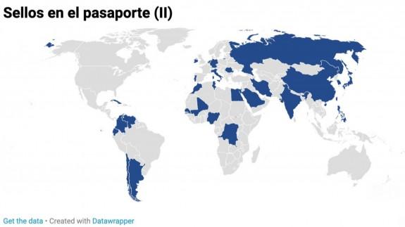 Mapa mundi con los países visitados en estas últimas semanas