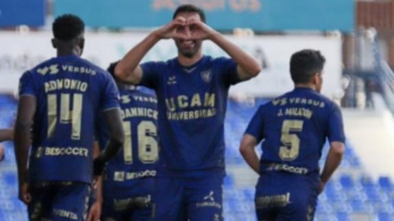 Celebración de un gol la pasada temporada. Foto: UCAM Murcia CF