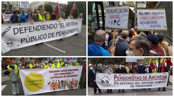 Seis autobuses han acudido desde Murcia para defender las pensiones públicas