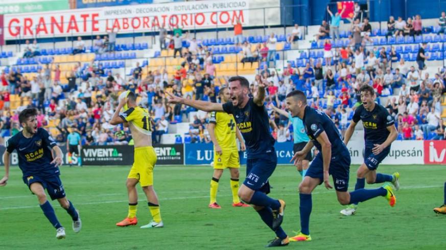 Jony Ñíguez celebra un gol del UCAM en un partido anterior