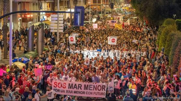 Un momento de la manifestación ayer en Cartagena
