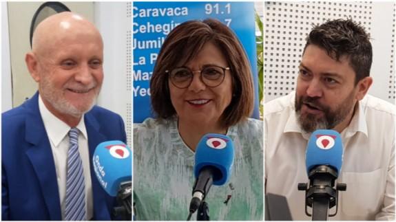 Domingo Coronado (PP), Rosa Peñalver (PSOE) y Miguel Sánchez (Ciudadanos)