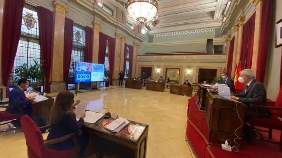 Concejales de la Corporación Municipal durante la celebración del Pleno. AYTO. MURCIA
