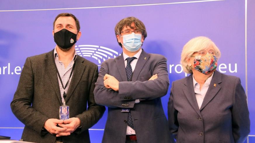 Los eurodiputados Comín, Puigdemont y Ponsatí.